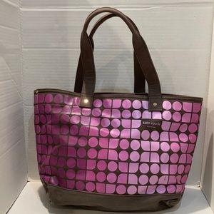 Kate Spade Brown / Pink Fabric Canvas Tote Bag